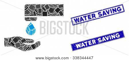 Mosaic Water Saving Icon And Rectangle Water Saving Seal Stamps. Flat Vector Water Saving Mosaic Ico
