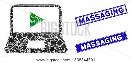 Mosaic Webcast Laptop Icon And Rectangular Massaging Seal Stamps. Flat Vector Webcast Laptop Mosaic