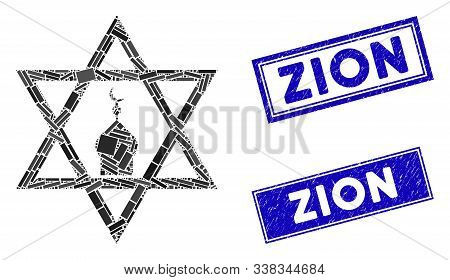 Mosaic Zion Pictogram And Rectangular Zion Watermarks. Flat Vector Zion Mosaic Pictogram Of Scattere