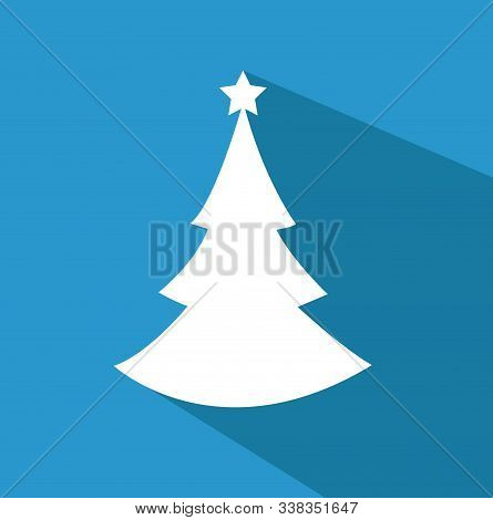 Christmas Background With Tree Flat Style Design