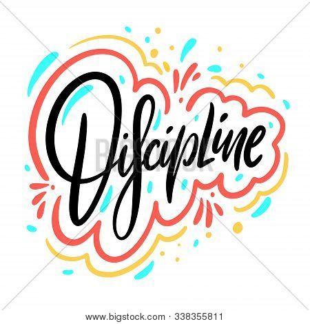 Discipline Word. Hand Drawn Vector Illustration. Isolated