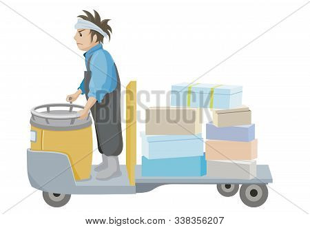 A Person Working In The Market On A Turret Truck. Man Carrying Luggage On Turret Truck