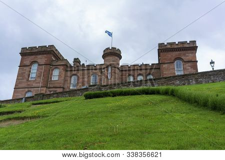 Inverness Castle Sits On A Cliff Overlooking River Ness In Inverness, Scotland