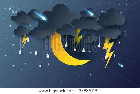 Moon And Star With Mystical Night Sky Fantasy Background.dark Cloudscape And Stars Fall In Rain Seas