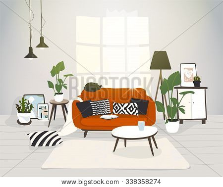 Living Room In Modern Scandinavian Hygge Design. A Cozy Apartment, A House With Furniture. Trendy No