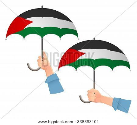 Palestine Flag Umbrella. Social Security Concept. National Flag Of Palestine  Illustration