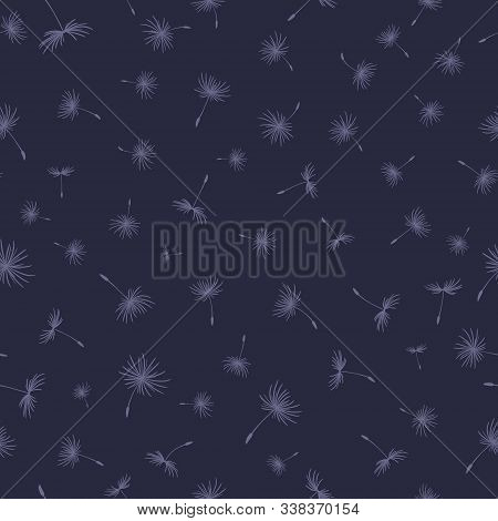 Simple Seamless Pattern With Flying Dandelion Seeds. Light Texture For Fabric, Clothing, Furniture.