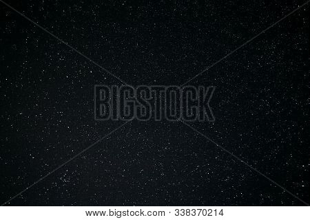 Real Night Sky Stars Background. Starry Night Sky With Stars. Natural Background With Black Sky And