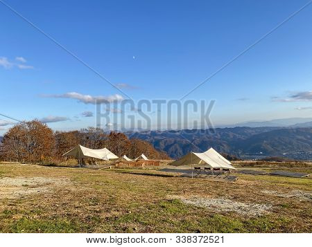 Outdoor Tent On Mountain At Iwatake Gondola Lift In Hakuba Nagano Japan