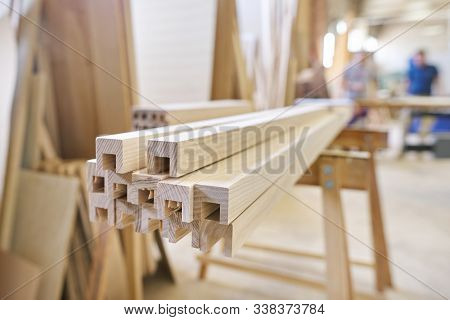Wooden furniture detail, background carpentry woodworking woodshop. poster