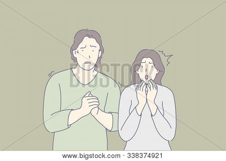 Frightened People, Scared Couple, Shocked Friends Concept. Man And Woman Trembling With Fear. Nervou