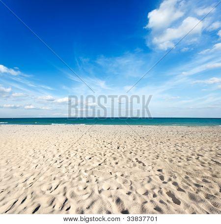 Beautiful beach and  waves of Caribbean Sea. Riviera Maya, Mexico