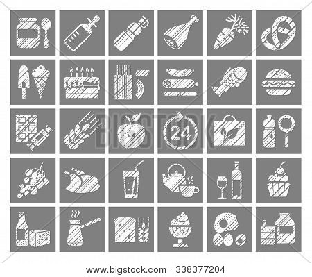 Food, Square Icons, Grocery Store, Pencil Shading, Vector. Food And Drinks, Production And Sale. Sin