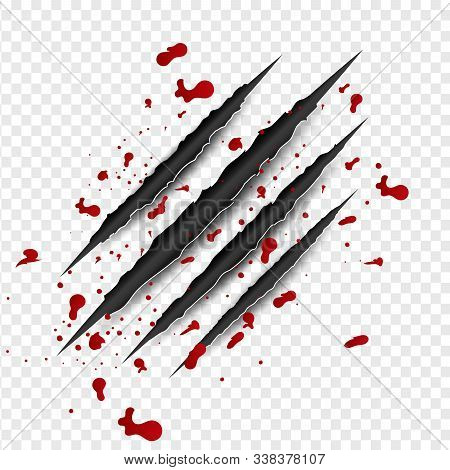 Illustration Of Claws Scratches With Red Blood On Isolated Background. Creative Paper Craft And Cut