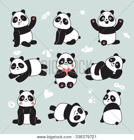 Cartoon Panda. Cute Panda Bear, Happy Baby Animals, Lazy Funny Chinese Bears Posing. Friendly Mascot