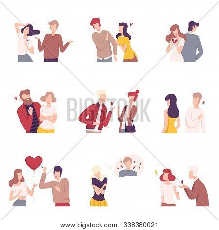 Man And Woman Experiencing Unrequited Feelings Set, One Sided Or Rejected Love Flat Vector Illustrat