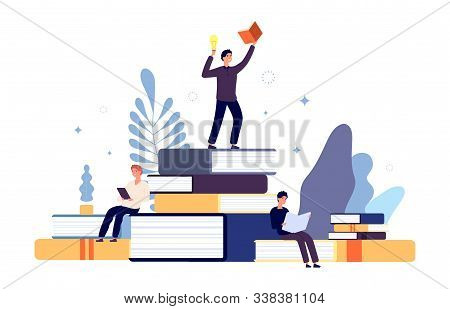 Reading Concept. People Read Books, Creative Student Have New Idea From Book. Interested Man In Lear