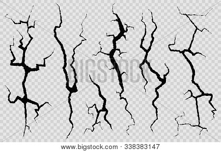 Wall Cracks. Surface Fracture Structure, Cleft Broken Dry Lining Wall Or Destroyed Cracked Glass, Ea