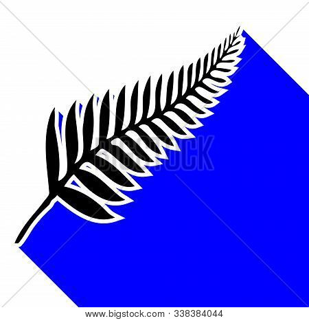 Silhouette Of A Silver Fern, A National Emblem Of New Zealand Over A White Background With Blue Shad
