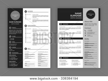 Cv Templates Vector Photo Free Trial Bigstock