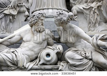 Detail of Pallas-Athene fountain in front of Austrian parliament, Vienna, Austria. Sculptures represent rivers Danube and Inn poster