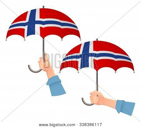 Norway Flag Umbrella. Social Security Concept. National Flag Of Norway Vector Illustration