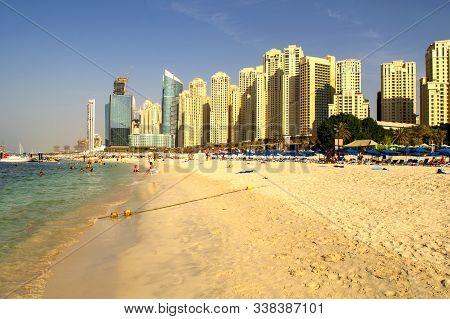 Dubai / Uae - November 7, 2019: Jbr. Panoramic View Of Jumeirah Beach Residence Skyscrapers And Urba