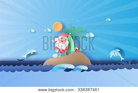 Santa Claus Smile Wearing Beach Suit Travel Swimming Decoration Of Island Seascape View. Dolphin Jum