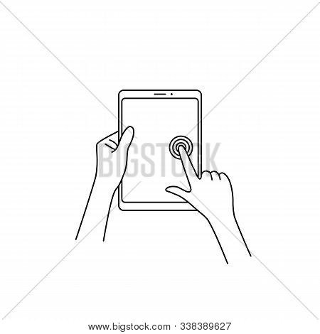 Linear Tablet In The Hand Touches The Screen. Contour Flat Style Trend Modern Lineart Graphic Hitech