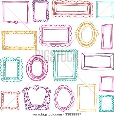 Seamless victorian ornaments photo frames in vector