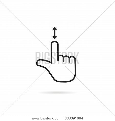 Scroll Down Like Thin Line Hand. Concept Of Up And Down Arrow For Using Phone Touchpad Or Tablet. Fl