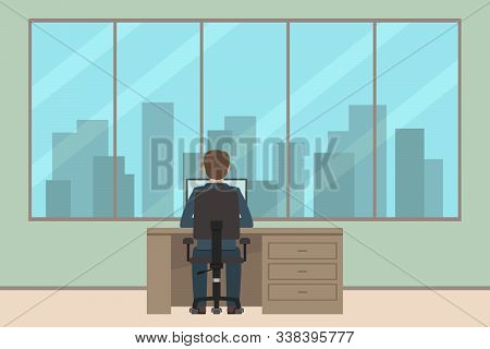 Caucasian Man Sitting At Table And Working. Back View. Vector Illustration.