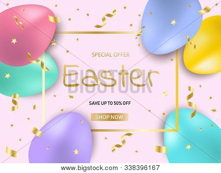 Easter sale eggs background. Bright shiny discount banner vector. Happy Easter, easter bunny, easter background, easter banners, easter flyer, easter design,easter with flowers on pink background, Copy space text area, vector illustration.