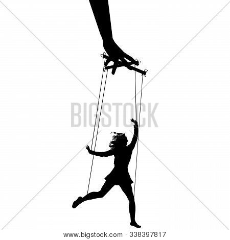 Hand Puppeteer Manipulating A Woman On White Background