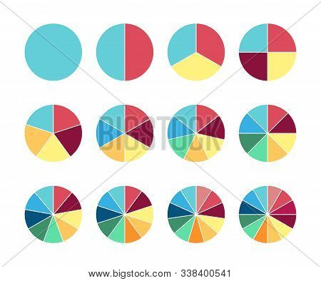 Pie Circle Chart. 12 Section. Vector Circle Graph For Infographic.