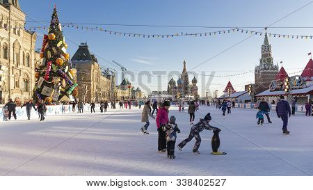 Moscow - November 29, 2015: Happy People And Tourists Ice Skating At The Beautiful Outdoor Christmas
