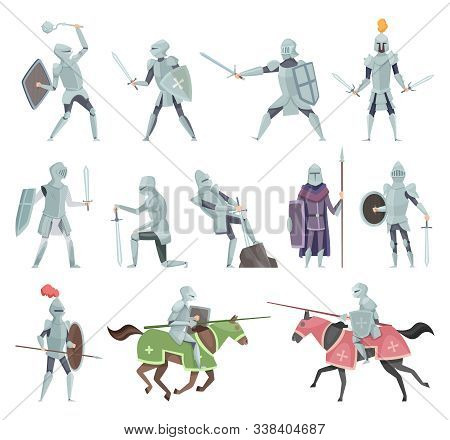 Knights. Medieval Battle Armor Characters Crusaders Historical Battle Mascots Vector Cartoon. Horsem