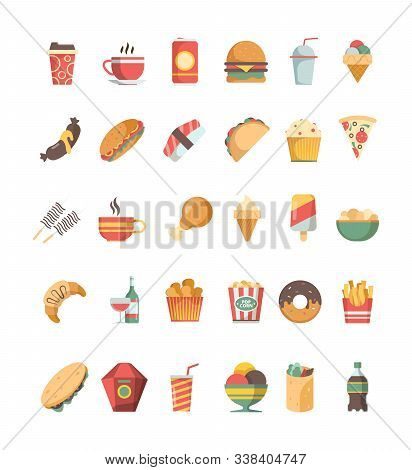 Fast Food Icon. Junk Food Trash Unhealthy Products Burger Hotdog Drinks Pizza Barbecue Fried Crispy