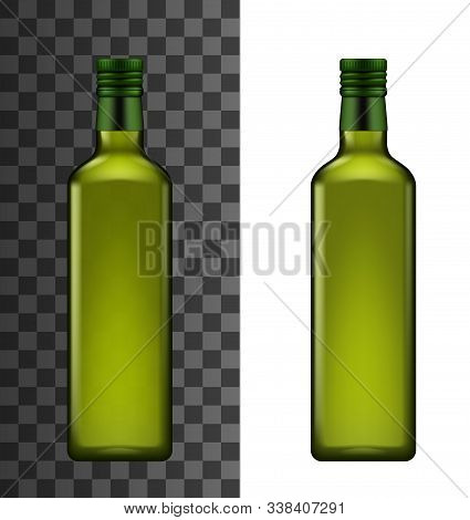 Bottle Of Organic Salad Dressing, Sunflower Or Linseed Oil. Vector Vinegar Or Extra Virgin Olive Oil