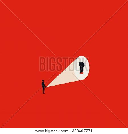 Business Solution With Keyhole Vector Concept. Symbol Of Leadership, Success, Strategy. Career Oppor