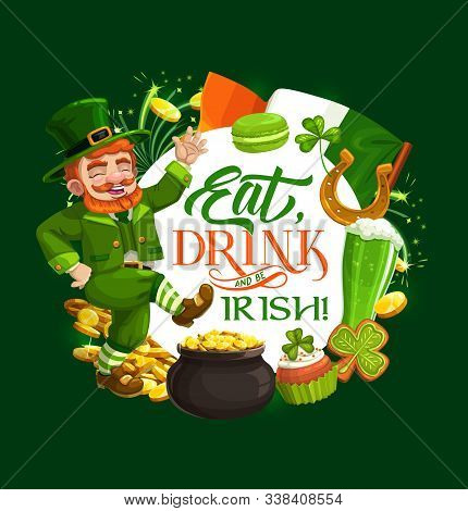 Dancing Leprechaun Vector Design Of St Patricks Day Irish Holiday. Green Shamrock, Gold And Lucky Ho