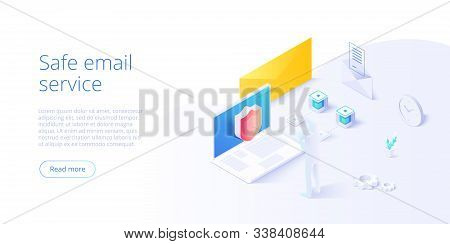 Email Service Security Creative Vector Illustration. Electronic Mail Message Concept As Part Of Busi