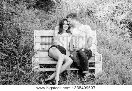 Family Weekend. Lovers Cuddling. Couple In Love Sit On Bench. Summer Vacation. Romantic Date In Park