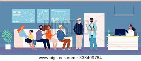 Patients Waiting. Hospital Rooms With Persons Doctor Consultation Clinic Interior Vector Medical Spe