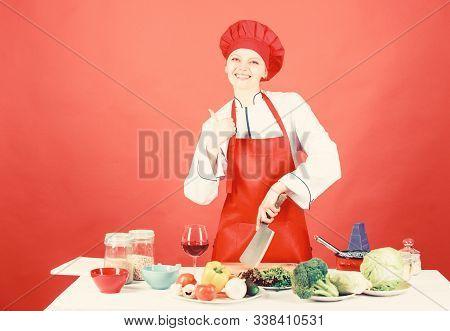 Woman Chef Hold Sharp Knife. Chop Food Like Pro. Knife Skills Concept. Sexy Aphrodisiac Dinner Recip