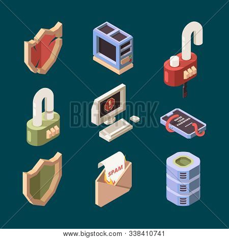 Hacker Isometric. Cyber Security Email Spam Computer Viruses Online Ddos Attack Bugs Protection Info