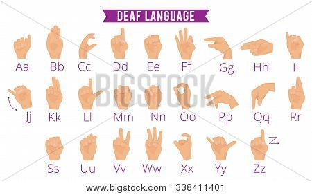 Deaf Hands Language. Disabled Person Gesture Hands Holding Pointing Fingers Palms Vector Alphabet Fo