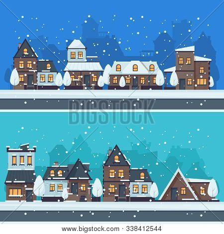 Snow Winter City. Urban Landscape With Christmas Season Houses Holiday Buildings Vector Landscape. I