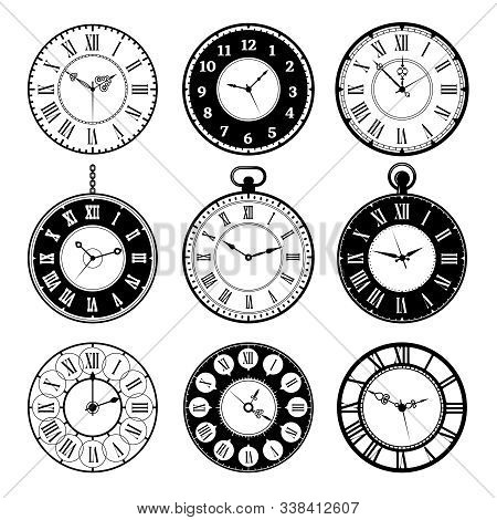 Retro Clocks. Old Roman Vintage Round Watches Collection Vector Pictures Set. Clock Old Number, Illu