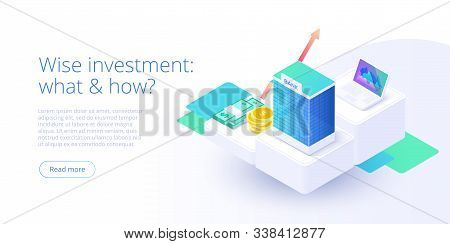 Bank Building In Money Transaction Concept In Isometric Vector Design. Payment Transfer Or Making De